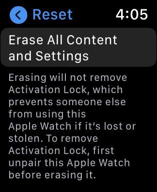 Ảnh chụp màn hình Apple Watch hiển thị lời nhắc Đặt lại