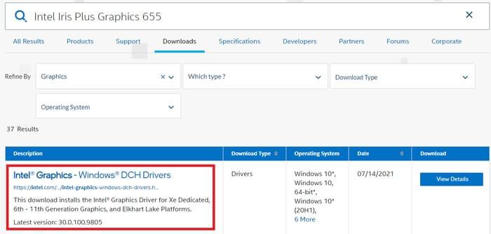 Nhấp vào Đồ họa Intel và Trình điều khiển Windows DCH