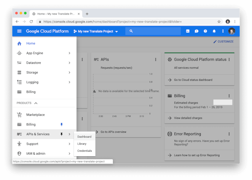 Trình đơn dịch vụ và API đám mây của Google.