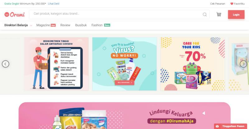 Trang web mua sắm trực tuyến Orami Indonesia