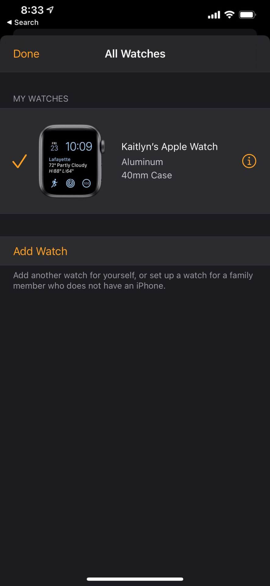 Ảnh chụp màn hình ứng dụng iPhone Watch liệt kê tất cả các thiết bị hiện được ghép nối
