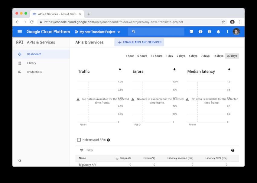 Trang tổng quan về các dịch vụ và API đám mây của Google.