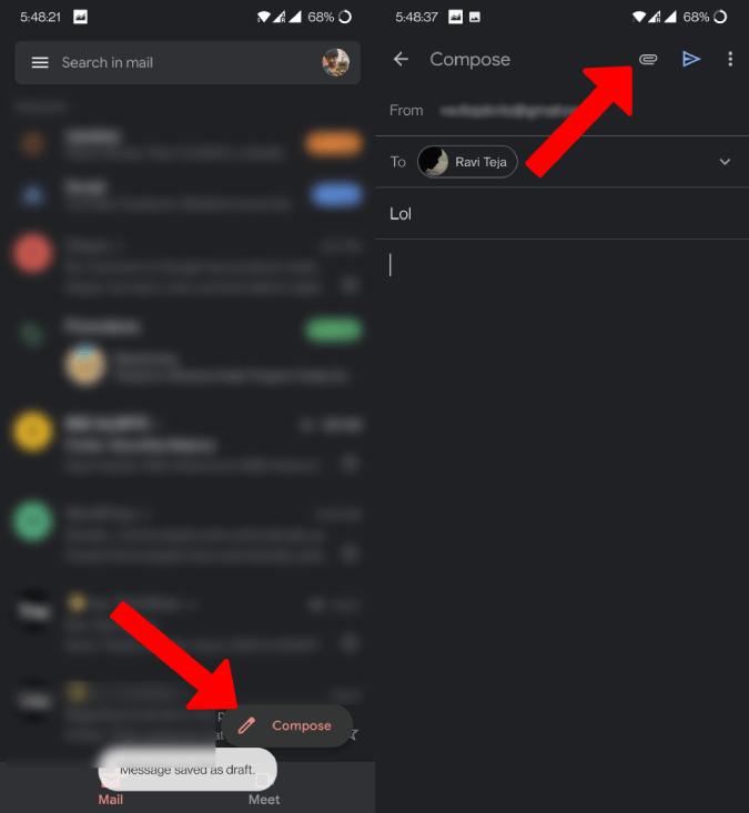 Thêm và đính kèm trên ứng dụng Gmail