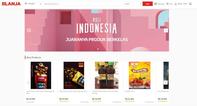 Trang web mua sắm trực tuyến Blanja Indonesia
