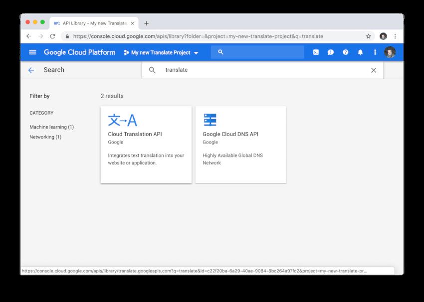 Chế độ xem tìm kiếm API để kích hoạt sau này trong dự án Google Cloud của chúng tôi.