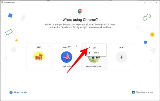 Google Chrome Chỉnh sửa hồ sơ Hình ảnh