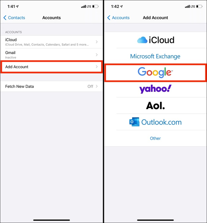 Google Thêm Tài khoản trong Cài đặt Danh bạ trên iPhone