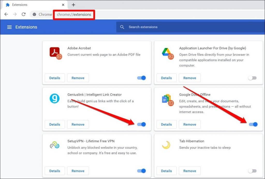 Tắt tiện ích mở rộng của Chrome
