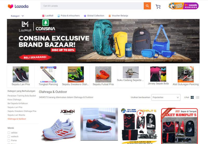 Trang web mua sắm trực tuyến Lazada Indonesia