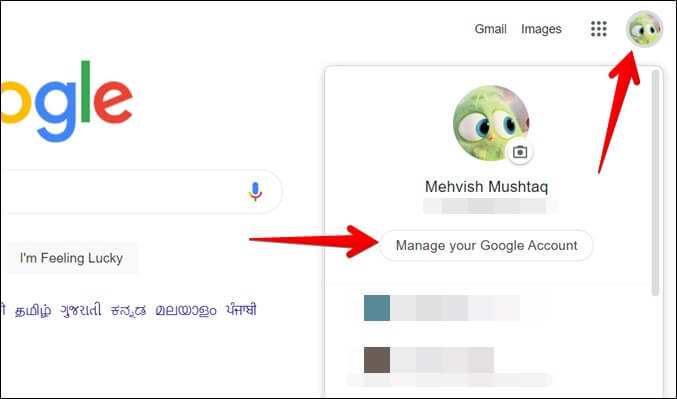 Google Chrome Quản lý tài khoản Google của bạn