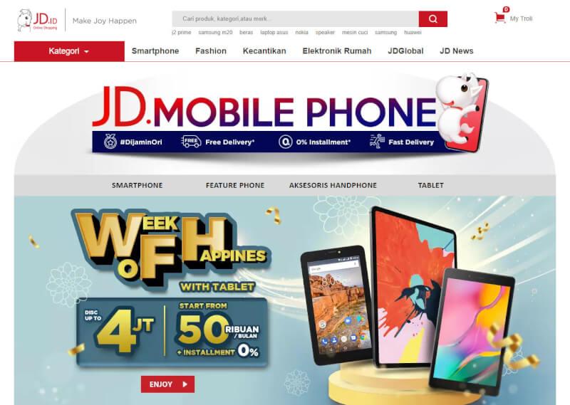 Trang web mua sắm trực tuyến JD ID Indonesia