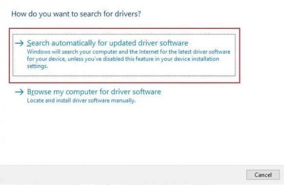 Tự động tìm kiếm phần mềm trình điều khiển đã cập nhật