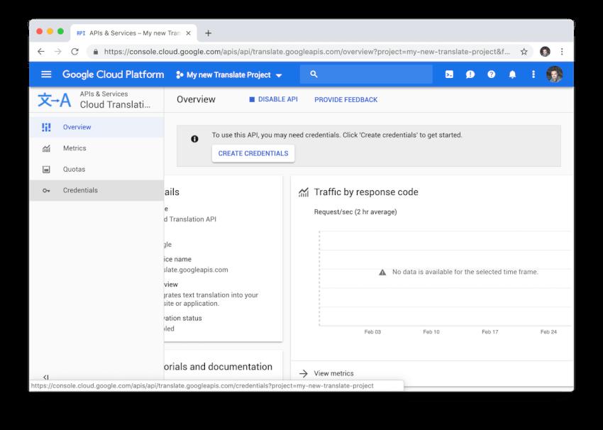 Menu quản lý thông tin xác thực của Google Cloud Translate.