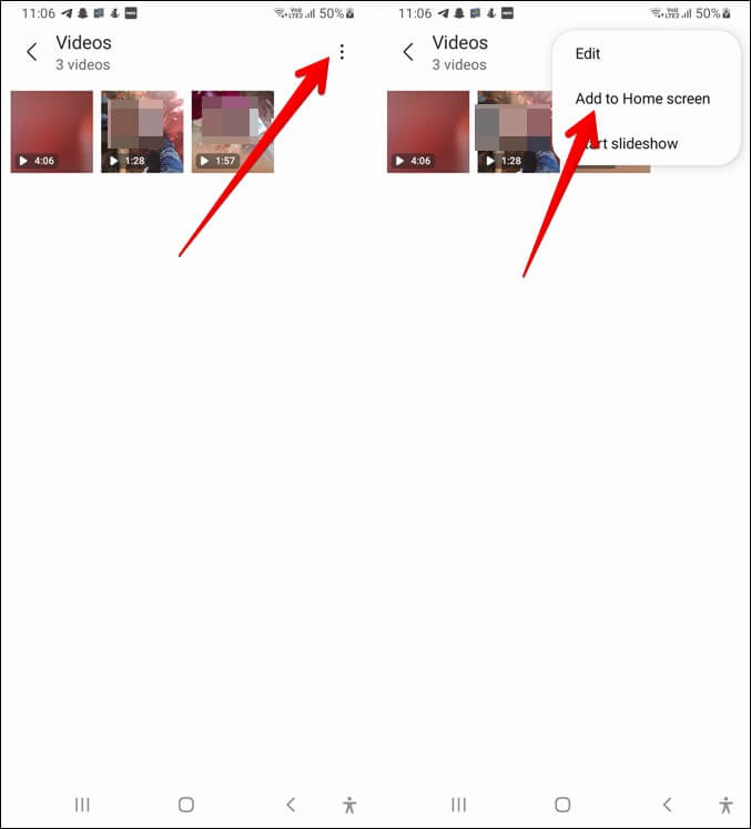 Thư viện Samsung Xem video nhanh chóng trên Màn hình chính