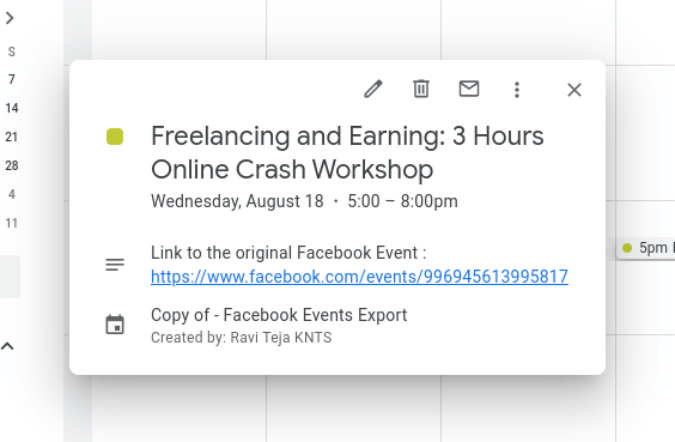 Sự kiện Facebook trên Lịch Google