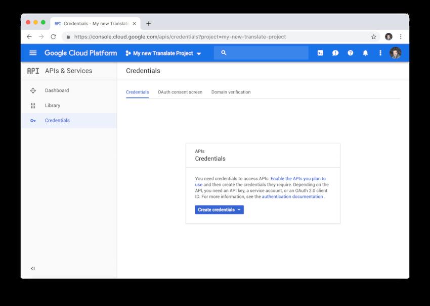 Bạn phải chọn loại thông tin đăng nhập API khóa để tạo khóa mới cho API Google Dịch.
