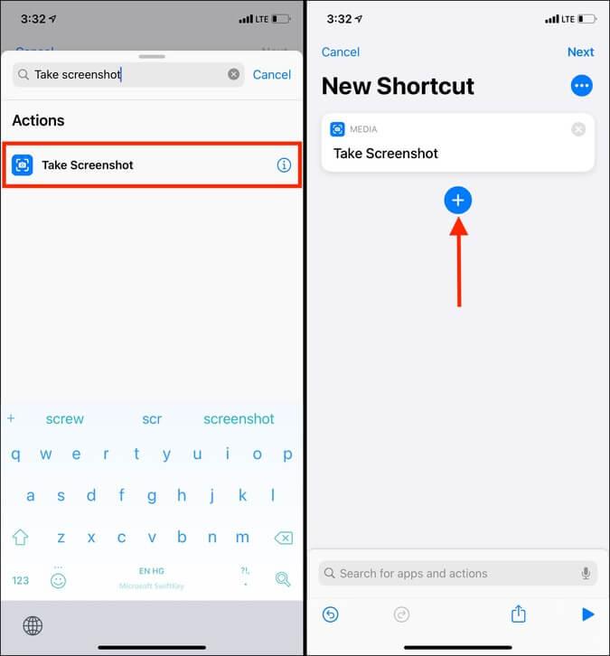 Tìm kiếm và nhấn vào Chụp ảnh màn hình trong ứng dụng Phím tắt trong iOS 14