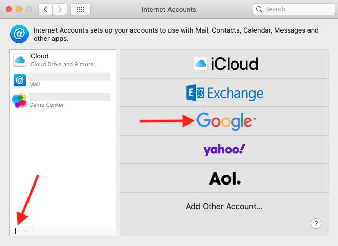 Nhấp vào biểu tượng Dấu cộng Google trong Tùy chọn hệ thống trên Mac