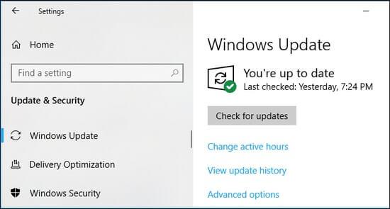 Kiểm tra các bản cập nhật Windows