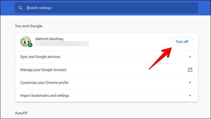 Google Chrome Tắt đồng bộ hóa
