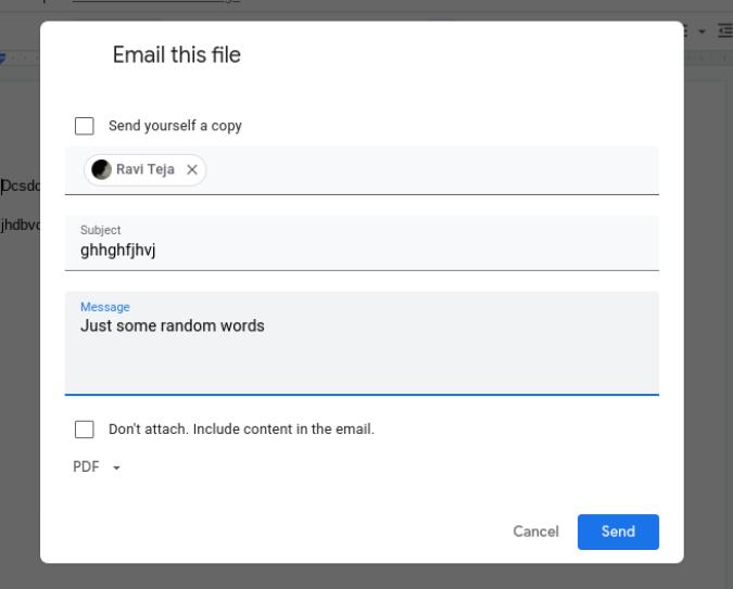 Gửi email cho Google Tài liệu với chủ đề, thông điệp, v.v. trên Google Tài liệu
