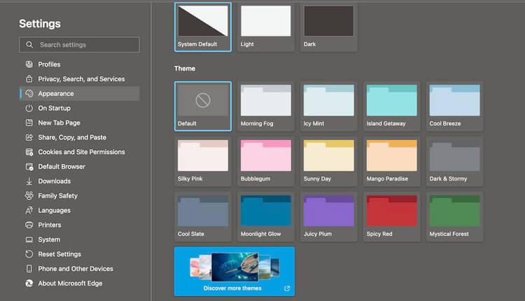 Cửa sổ Giao diện đang mở trong Cài đặt trên Microsoft Edge trên Mac