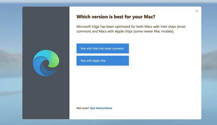 Lời nhắc chọn phiên bản Mac mà người dùng có, chip Intel hoặc Apple, khi họ tải xuống Microsoft Edge