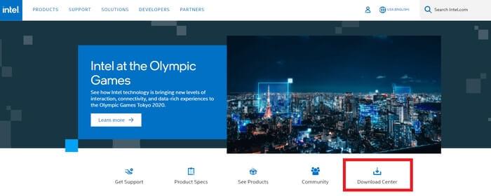 Nhấp vào Trung tâm Tải xuống trong Trang web chính thức của Intel