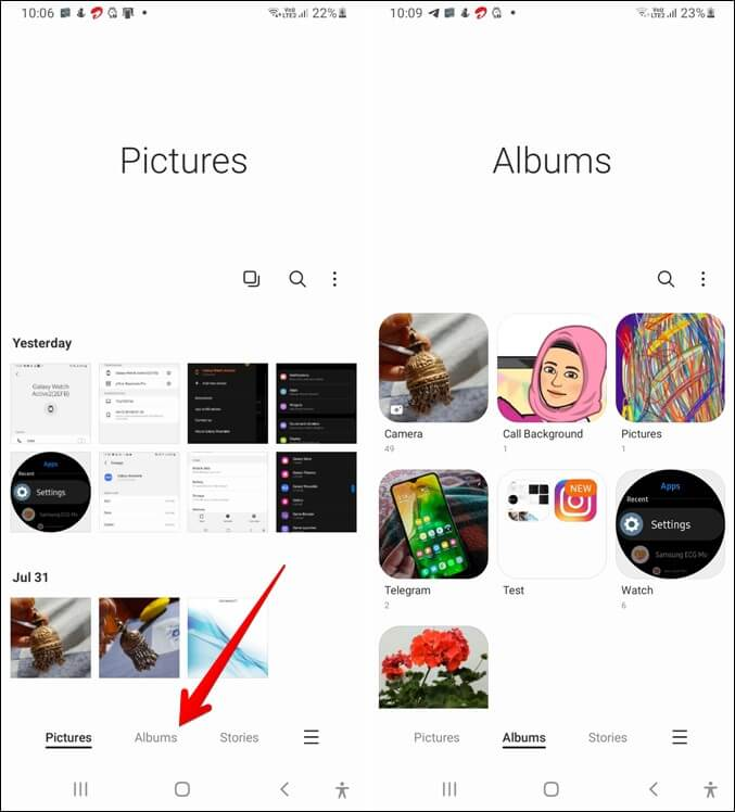 Thư viện Samsung Cách thay đổi chế độ xem
