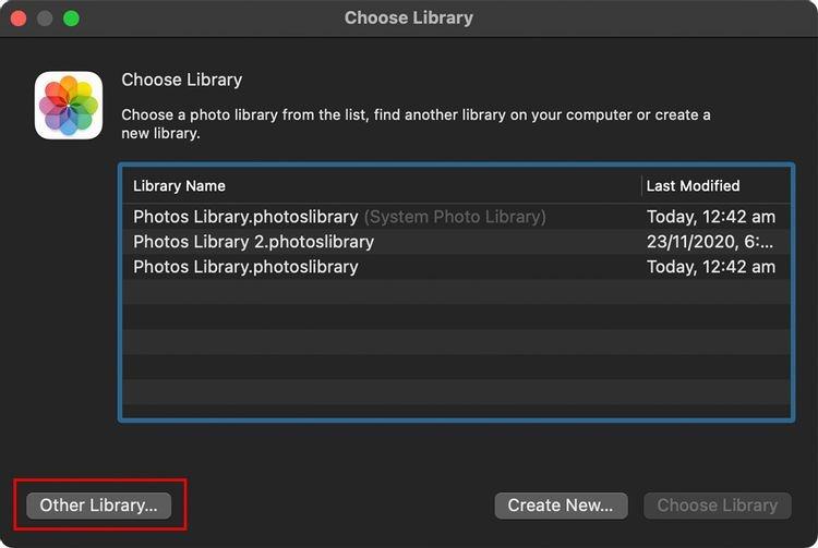 Chọn Thư viện khác trong ứng dụng Ảnh