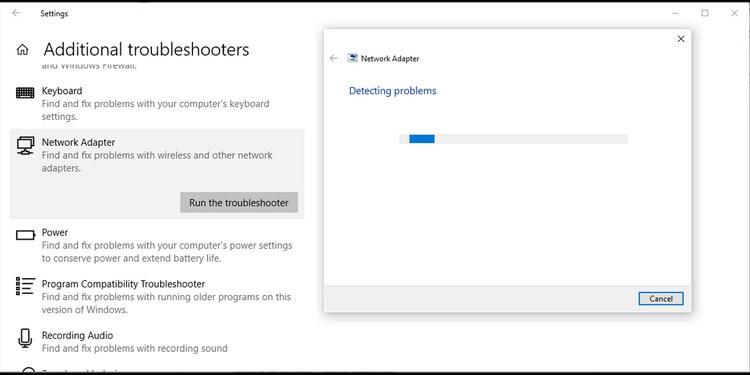 Trình khắc phục sự cố mạng trong Windows 10