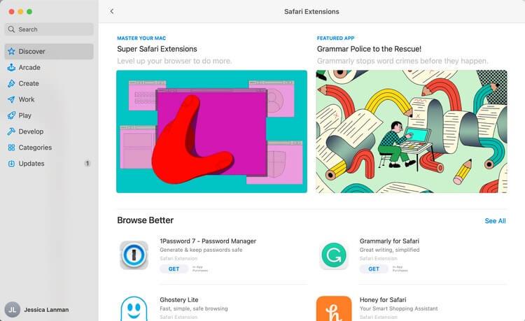 Cửa sổ Tiện ích mở rộng Safari trong Mac App Store trên MacBook Pro