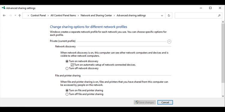 Cài đặt chia sẻ nâng cao trong Windows 10