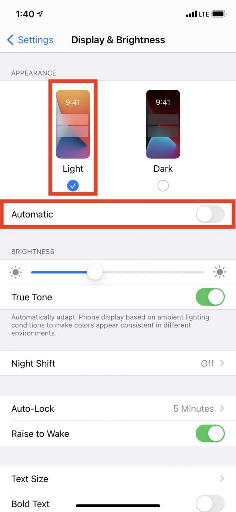 Tắt Chế độ tối trên iPhone để khắc phục sự cố mờ màn hình