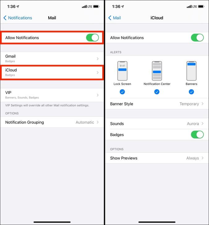 Cho phép Thông báo cho Thư và đặt các cài đặt thông báo khác trên iPhone