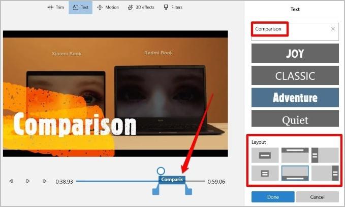 Thêm văn bản vào video trong Microsoft Video Editor
