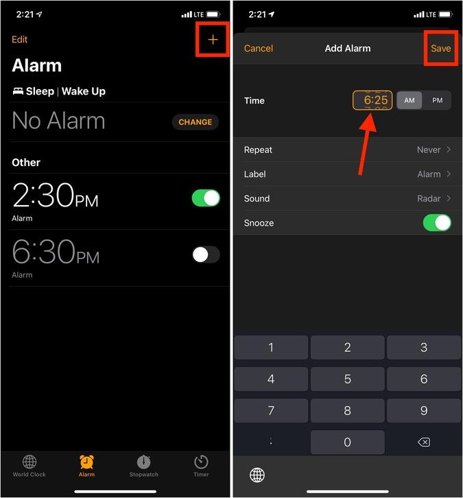 Nhấn vào biểu tượng dấu cộng để thêm báo thức mới và đặt thời gian chính xác trên iPhone