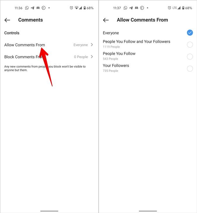 Instagram cho phép nhận xét từ những người được chọn
