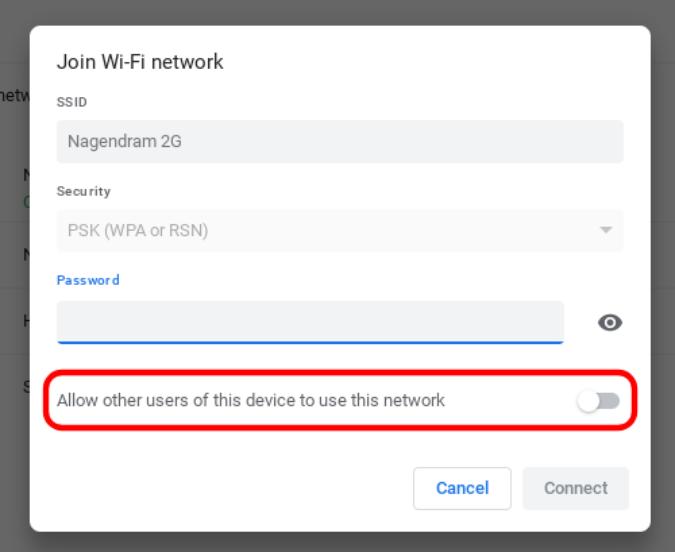 Cho phép những người dùng khác của thiết bị này sử dụng mạng này trên Chromebook
