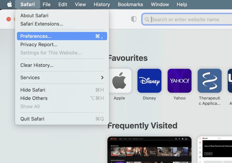 Mở Safari và nhấp vào Tùy chọn.  Tại sao Internet trên máy Mac của tôi lại quá chậm.