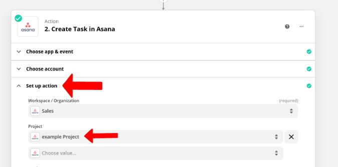 Thiết lập dự án cho Asana.