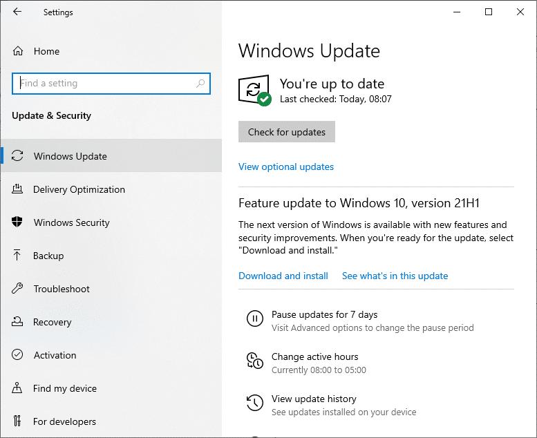 Nhấp vào Windows Update và cài đặt các chương trình và ứng dụng lên phiên bản mới nhất.