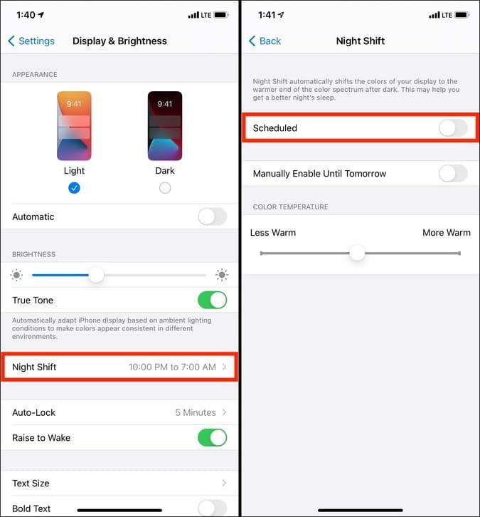Tắt Night Shift trên iPhone để khắc phục sự cố làm mờ màn hình