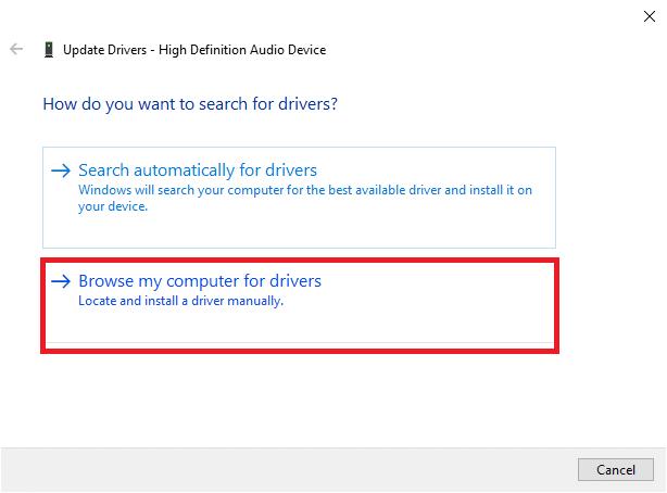 Bây giờ, chọn tùy chọn Duyệt máy tính của tôi để tìm trình điều khiển.  Điều này sẽ cho phép bạn xác định vị trí và cài đặt trình điều khiển theo cách thủ công.