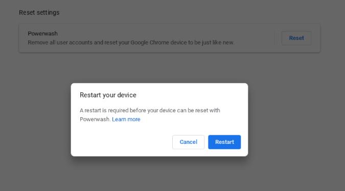 Đặt lại Chromebook