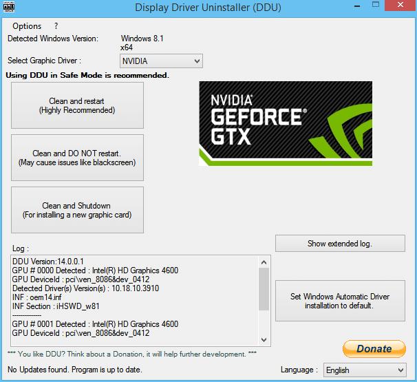 Sử dụng Trình gỡ cài đặt trình điều khiển hiển thị để gỡ cài đặt Trình điều khiển NVIDIA