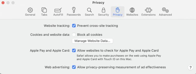 Chọn tab Bảo mật và nhấp vào nút Quản lý Dữ liệu Trang web.  Tại sao Internet trên máy Mac của tôi lại quá chậm.