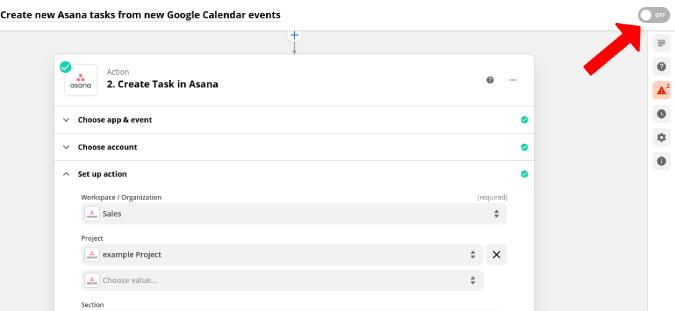 Bật Zapier Zap để đồng bộ hóa Lịch Google và Asana