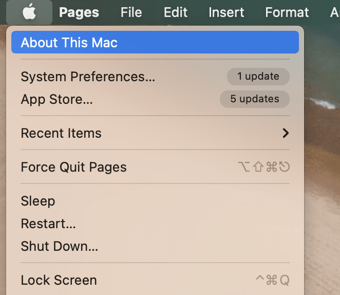 Từ danh sách hiện được hiển thị, hãy chọn Giới thiệu về máy Mac này.