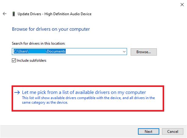 Tại đây, chọn Hãy để tôi chọn từ danh sách các trình điều khiển có sẵn trên máy tính của tôi
